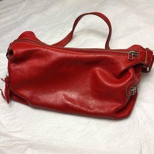 Roots Genuine Leather Red Shoulder Bag